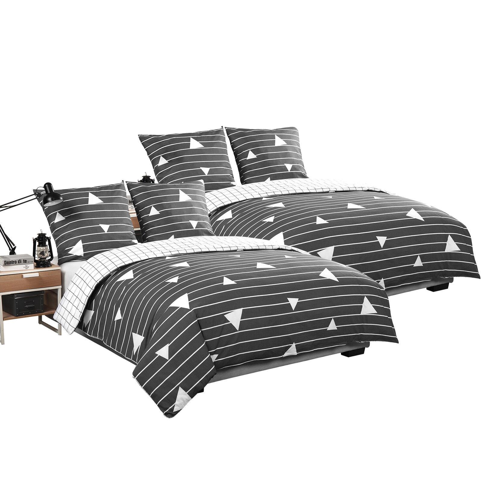 Bettwäsche 155x220 cm 4teilig Satin Baumwolle Bettgarnitur Bettbezug BWS03m02-2