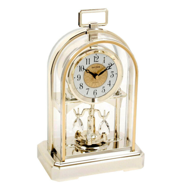 RHYTHM Beautiful Gold Colour Arch Dome Pendulum Anniversary Mantel Clock Gift