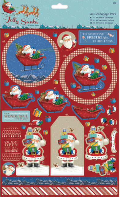 5 x A4 Die Cut Toppers Sheets Traditional Christmas Theme NEW