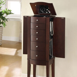 Jewelry Armoire Stand Wood Mirror Storage Tall Chest Cabinet Dark