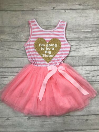Pink Sleevless Gold Heart White Going to be Big Sister PRINCESS BIG SISTER TUTU