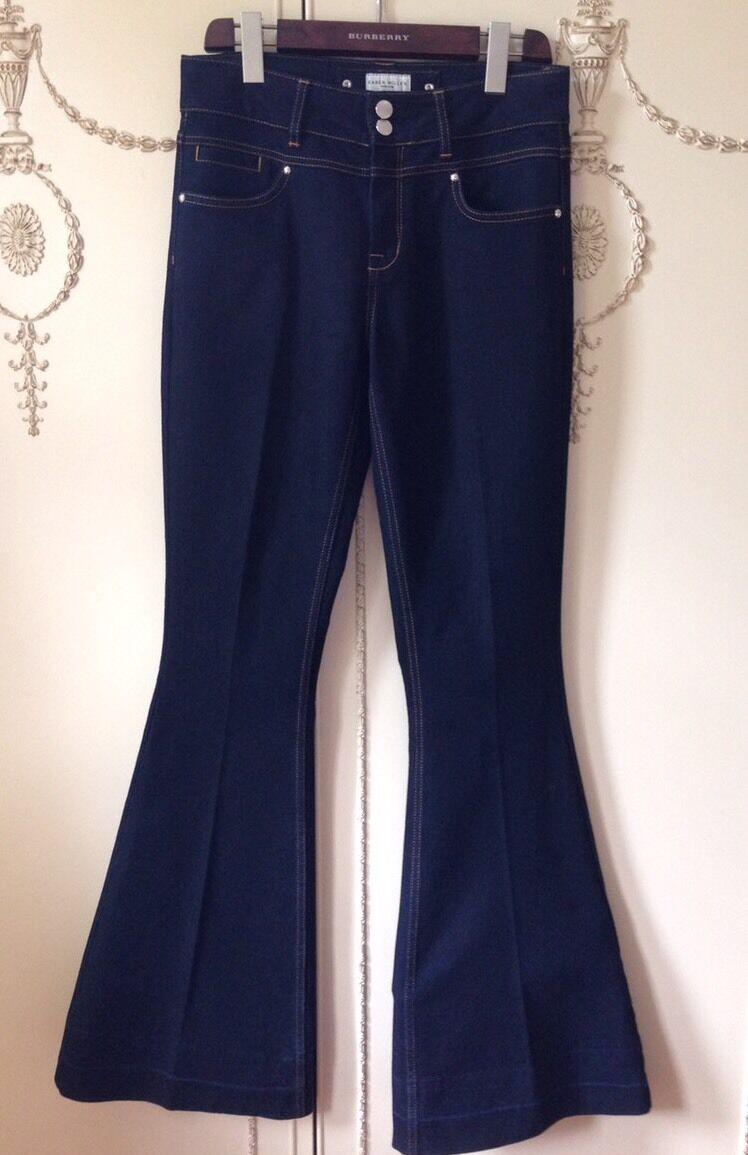 Karen Millen Jeans Trousers Dark bluee Denim Flares 70's Fashion Size