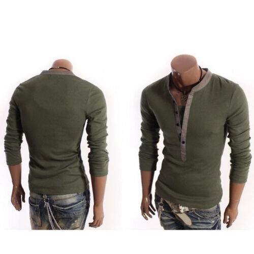Men T-Shirt Button Front Long Sleeve V-neck Solid Casual Slim Fit t-shirts Tops