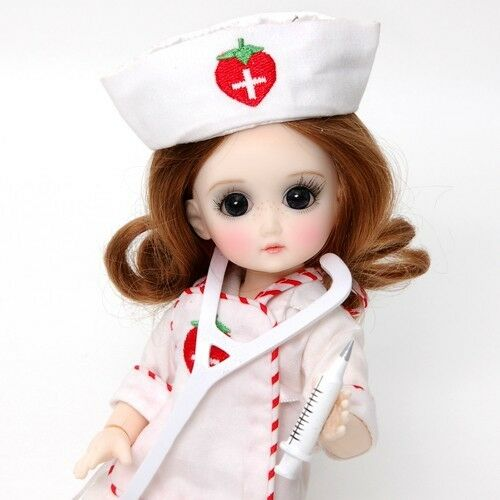 Ruby Red Galleria BJD Strawberina Doctor and the cat - GA0006A