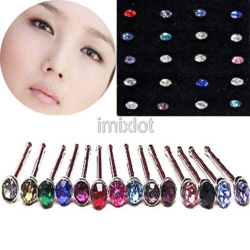 24pcs//pack Fashion Rhinestone Nose Stud Ring Bone Bolt Body Piercing Jewelry HOT