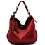 Chill-X-by-Le-Miel-BURGUNDY-V-Pattern-Embossed-Hobo-Shoulder-Handbag thumbnail 1