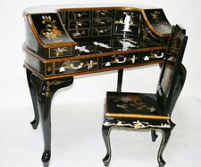 Oriental furniture desk black lacquer mother of pearl