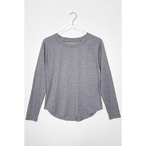 ATHLETA Topanga Mesh Back Long Sleeve T-Shirt Crew Neck Active Top Gray size XS
