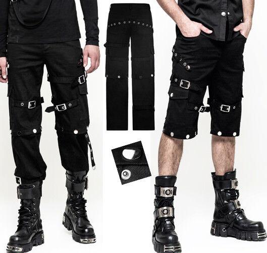 Pantalon short transformable gothique punk sangles rivets fashion Punkrave Homme
