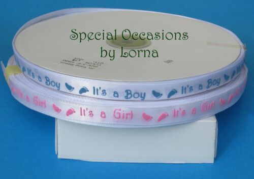 Baby Boy or Girl Printed Satin Ribbon Shower Cakes Favours Cards trim blankets