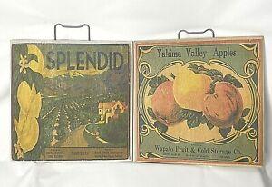 "Vintage Wood Wall Plaques Produce Art Apples Lemons Set of 2 Fruit Farmhouse 11"""