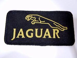 "JAGUAR w/Leaping Cat Iron-On British Automotive Car Patch 4"" Black/Gold"