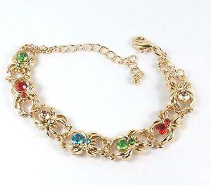 Women-039-s-14-Carat-Gold-Filled-Crystal-spider-design-chain-link-bracelet-Jewellery