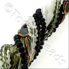 12 Mixed Glass Bead Strings - Black Grey White Mix Various Shapes and sizes