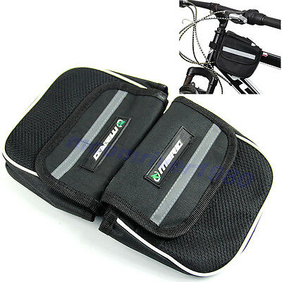 Bike Bicycle Cycling Frame Pannier Double Saddle Front Tube Mesh Cell Phone Bag
