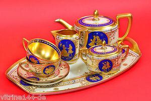 Tete-a-Tete-DRESDEN-A-LAMM-Watteauszenen-Teeservice-Tea-Set-Dejeuner-1900