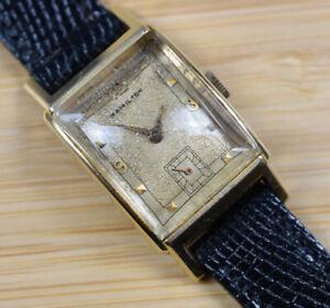 Vintage-HAMILTON-SHERWOOD-14k-Gold-Filled-Wind-Up-Watch-Lizard-Cal-982