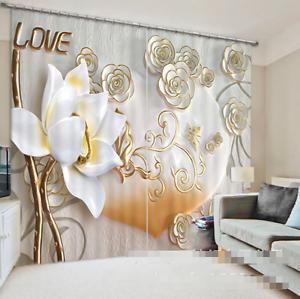 3d blancoo Lotus 392 bloqueo foto cortina cortina de impresión sustancia cortinas de ventana