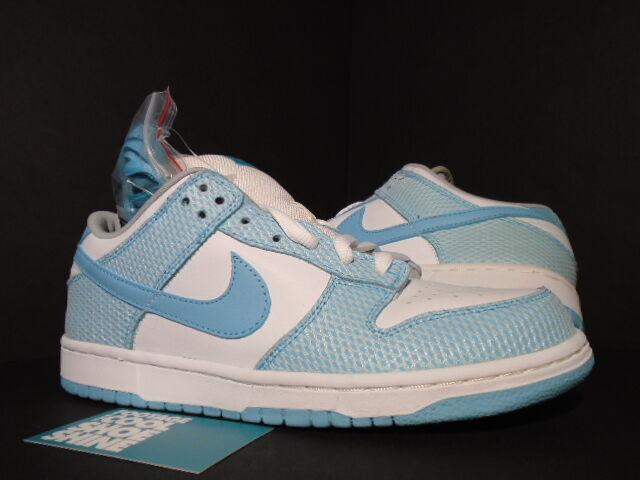 2005 Nike Dunk Low Premium SB AQUA NET HIGH HAIR WHITE AQUA BLUE 313170-142 DS 9