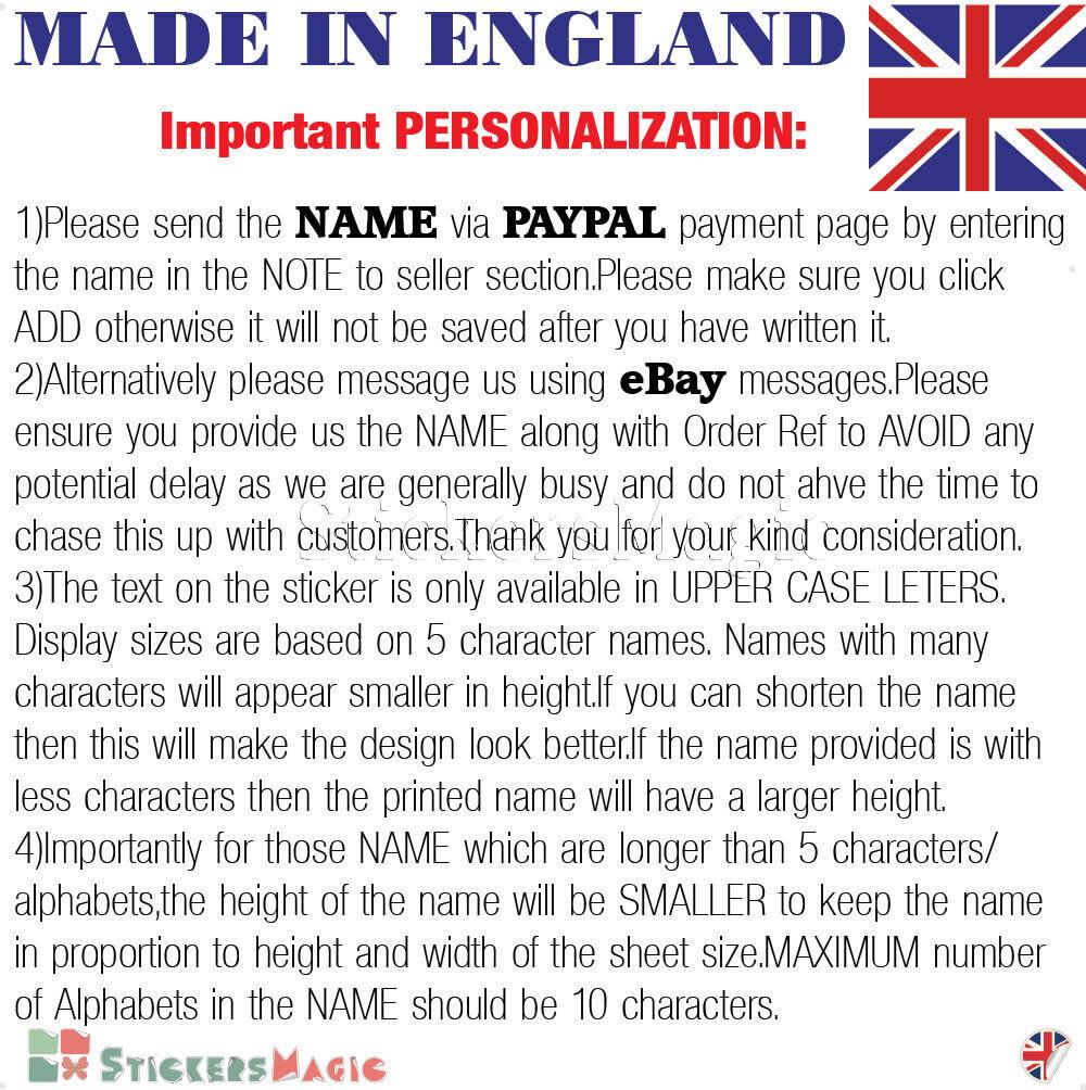 NEON 12 Muro Nome Nome Nome Personalizzato Adesivo Parete Stanza Bambini Decalcomania Vinile in tessuto UK 21110d