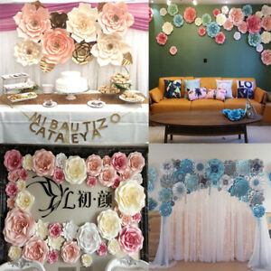 Details About 2 Shape Paper Flower Backdrop Wall Large Rose Flowers DIY Wedding Party Decor