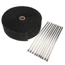 10M BLACK + 10 FREE TIES HEAT RAP EXHAUST MANIFOLD DOWNPIPE  WRAP DE CAT FREE PP