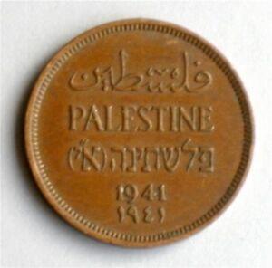 Israel-Palestine-British-Mandate-1-Mil-1941-Bronze-Coin-XF