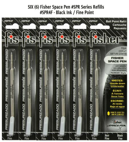 Six Fisher Space Pen #SPR4F Black Ink Fine Point Refills Also Fits Parker
