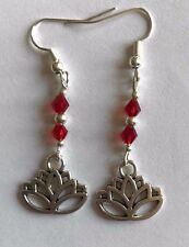 TIBETAN SILVER LOTUS FLOWER CHARM EARRINGS BUDDHISM BUDDHA with red crystal bead