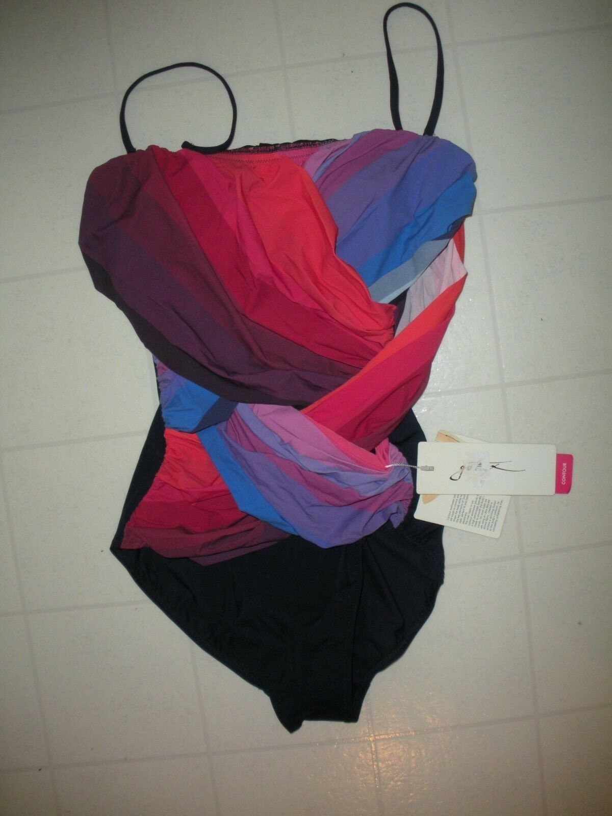 GOTTEX Mulitcolor Pink Navy Chrystalis 1 Pc Bandeau Style Swimsuit Sz 6 NWT