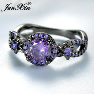 Exquisite Round Purple Amethyst Flower Wedding Ring Black Gold