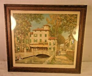 """Decorative Arts Antiques Antique Deco Frame With Print 19 3/4 X 20 1/2 Holds 17x19 3/4 Molding 1 1/2"""" Complete In Specifications"""