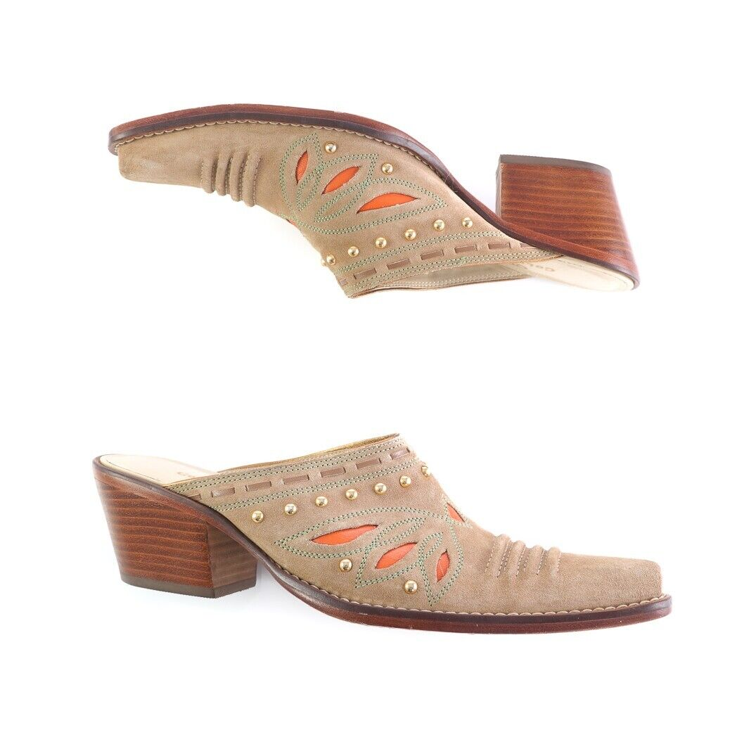 Cole Haan beige daim ornée Western Cowgirl Mules Talons Hauts Chaussures Femme 8