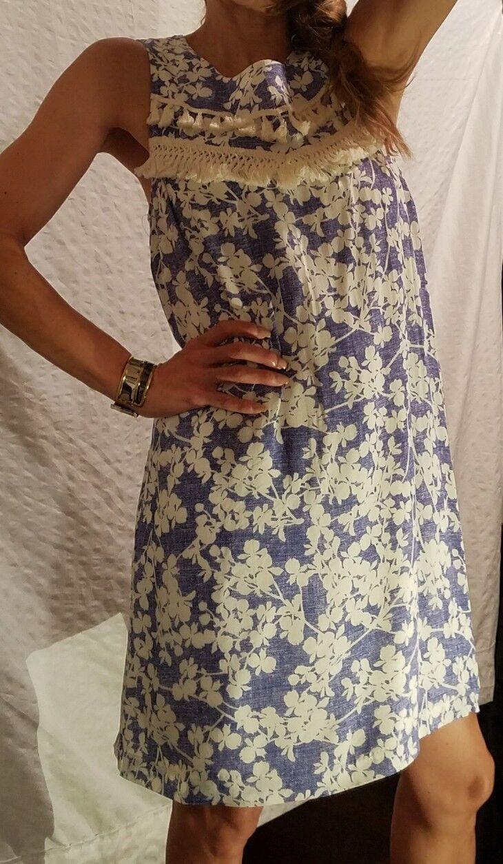New KENSIE bluee & White Floral Sleeveless Short Dress Zipper Women's M Medium