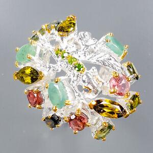 Tourmaline Ring Silver 925 Sterling Jewelry Fine ART Size 7 /R138051