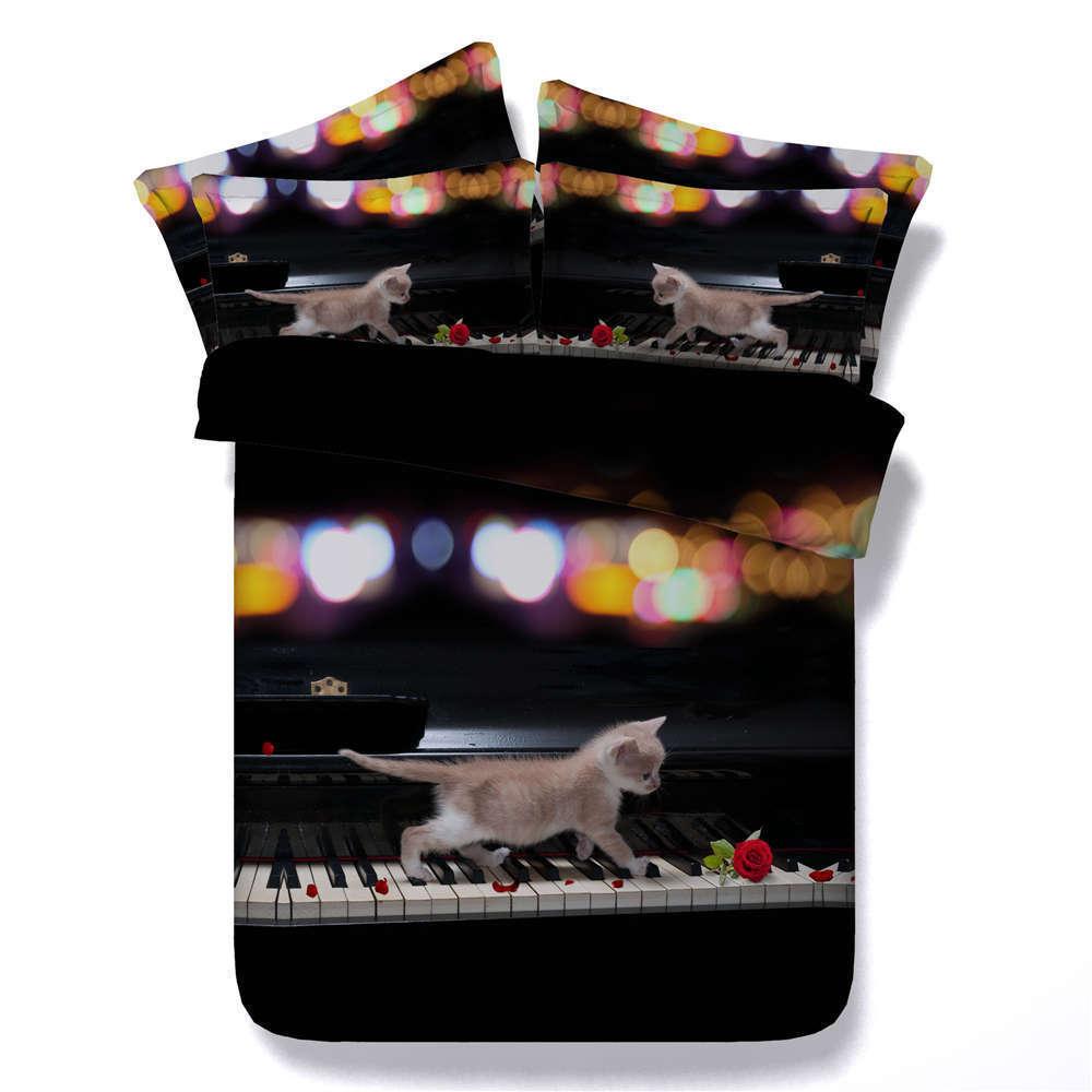 Cat Walk Piano Key 3D Printing Duvet Quilt Doona Covers Pillow Case Bedding Sets