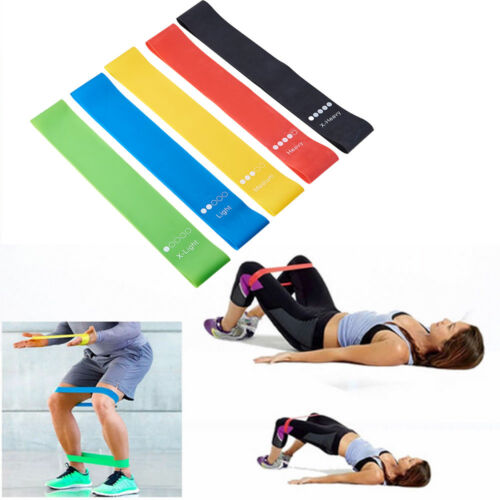 5x Bodybuilding Keep Fitness Yoga Pilates Hands Legs Resistance Bands Loop Latex