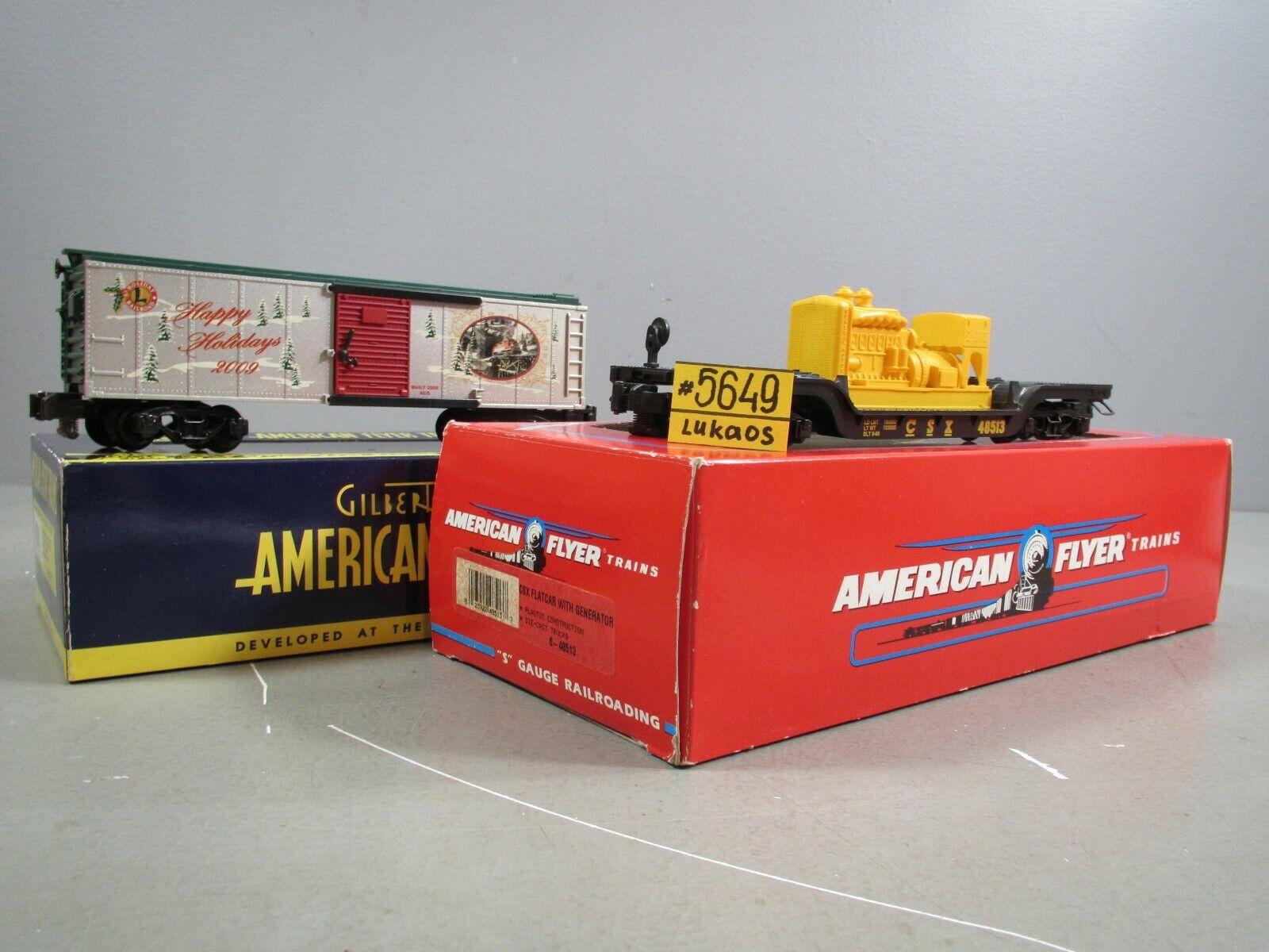 AMERICAN FLYER CSX DEPRESSED FLAT CAR w  GEN. &6-48376 HOLIDAY BOXCAR