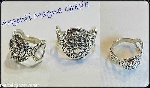 Anelli Con Maschera Apotropaica Calabria Magna Grecia Argento 800 Porta Fortuna