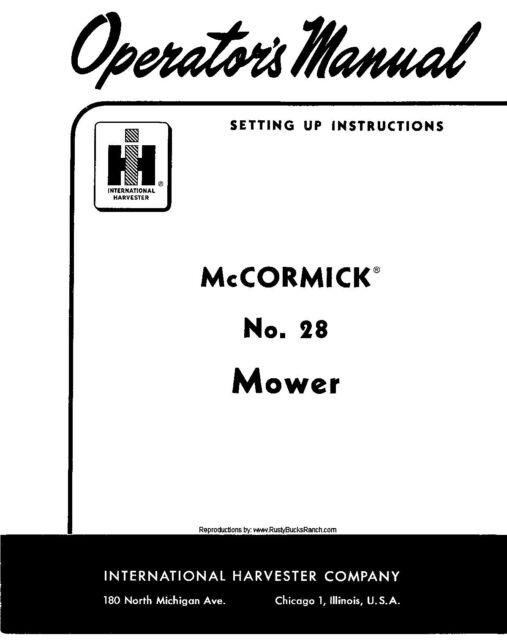 Mccormick No 28 Mower Owners Operators Setting Up Instructions