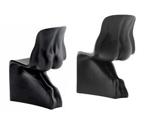 CASAMANIA-HIM-amp-HER-coppia-di-sedie-seduta-UOMO-DONNA-NERE