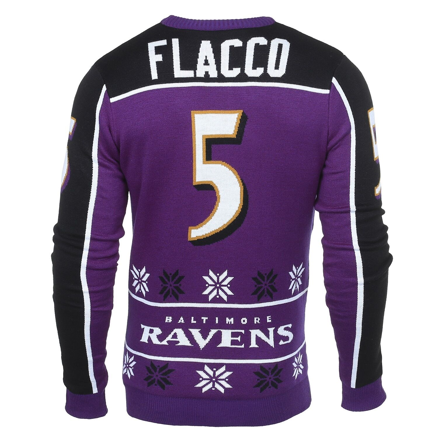 NFL UGLY SWEATER SWEATER SWEATER Pullover Christmas Style BALTIMORE RAVENS Joe Flacco 5 3be89f