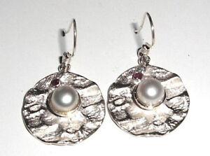Unikat-925-Sterling-Silber-Design-Ohrhaenger-Perle-Granat-Pearl-Ohrringe-Neu