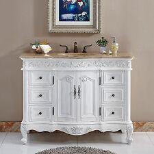 48-inch Bathroom Travertine Top Sink Vanity White Oak Finish Cabinet  0152TR