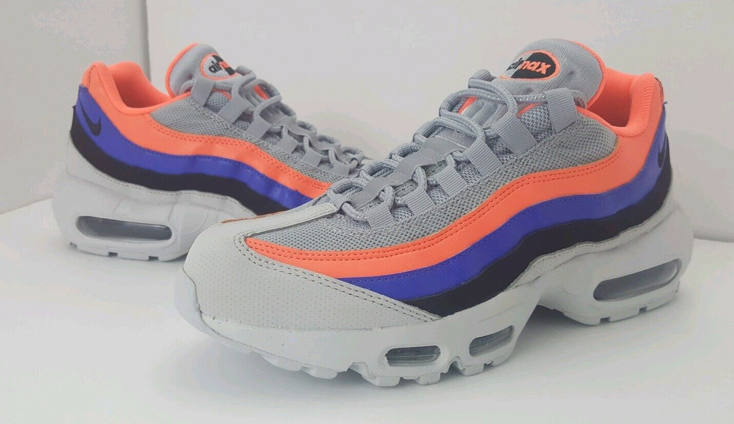 New Nike Air Max 95 Essential 749766-035 shoes Platinum Mango Black 3M Mens Sz 8