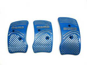 Momo Style Blue Silver Aluminium Non Slip Gas Brake Pedal Pad Manual Car 3 PCS
