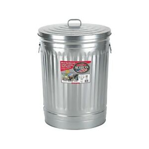 steel 31 gallon silver galvanized metal trash can with lid garbage storage ebay. Black Bedroom Furniture Sets. Home Design Ideas