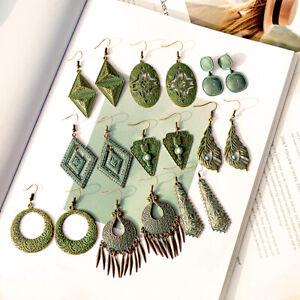 Vintage-Bronze-Bohemian-Geometry-Alloy-Hook-Dangle-Women-039-s-Ethnic-Gypsy-Earrings