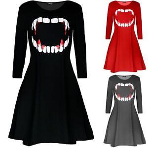 Da-Donna-Vampiro-Halloween-Sangue-Horror-Donna-Costume-Smock-Svasato-Swing-Abito