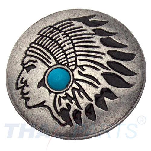 Concho #090 30mm Indiana Häuptling Concho Antik Silber Stein Blau Conchos Concha